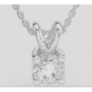 Jewelry - Solitaire Diamond Pendant White Gold 14K Round Pro